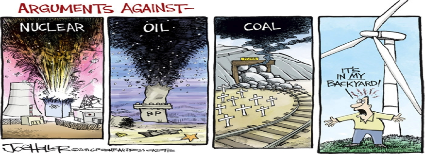 Cartoon by Joe Heller: Arguments Against Various Energy Sources