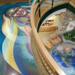 Marge, the wind goddess, overlooks the earth mural
