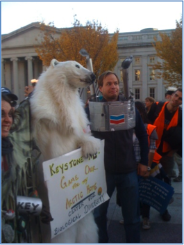 Keystone XL Pipeline protester dressed as polar bear