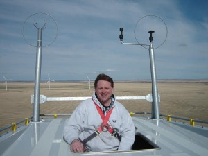 Larry Jacobs atop a nacelle